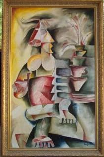 """Coffee & Palm Trees"" Original Acrylic/Canvas by Alexandra Nechita"
