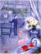 """Le Artiste et Son Modele"" Plate-Signed Lithograph by Marc Chagall"