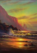 """Hawaiian Sunset"" Original Oil on Board by Christian Riese Lassen"