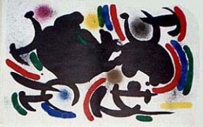 """Miro Lithographs Volume I – Lithograph VII"" 1972 color lithograph by Joan Miro"