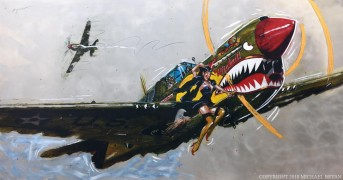 """Wicked"" Kittyhawk MK1 Original Mixed Media on Aluminum by Michael Bryan"