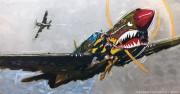 """Wicked"" Kittyhawk MK1 Original Mixed Media on Aluminum by Michael Bryan"