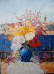 """Flowers and Belgrade"" Original acrylic on canvas by Slobodan Paunovic"