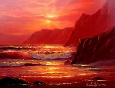 """Island Sunset"" Original Oil on Board by Christian Riese Lassen"