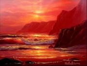 """Island Sunset"" Original Oil on Board by Christian Riese Lassen"