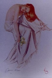 """Jeanne Dean"" Lithograph/Odalesque by Alberto Vargas"