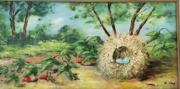 """Nest With Blue Eggs"" Enamel on Copper by Max Karp"