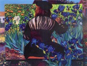 """Painting Irises"" Serigraph by Dr. T. F. Chen"