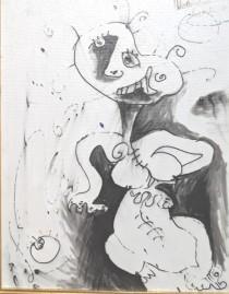 """Purple Tears"" Original Acrylic and Oil on Canvas by Alexandra Nechita"