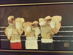 """Wanna Fight"" Original Oil on Canvas by Todd White"