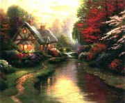 """A Quiet Evening"" Serigraph/Canvas by Thomas Kinkade"