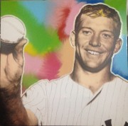 """Mick"" (Mickey Mantle) Mixed Media on Canvas by Steve Kaufman"