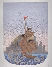 """Statue of Liberty, Day"" embossed serigraph with foil stamping by Erte"