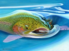 """""""Salmon Snack"""" Limited Edition Giclee on Canvas by A D Maddox"""