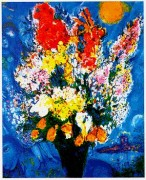 """Le Bouquet Illuminant Le Ciel"" Plate-Signed Lithograph by Marc Chaga;;"