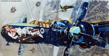 """Black Widow"" Northrop P-61C Black Widow Night fighter Original Hand-Worked Aluminum painting by Michael Bryan"