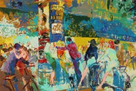 """Left Bank Cafe"" Serigraph by LeRoy Neiman"