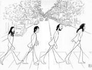 """Abbey Road"" Offset Lithograph by Al Hirschfeld"
