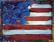 """Flag With Heart"" Serigraph by Peter Max"