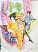 """""""Untitled 1"""" Original Watercolor on French Arches Paper by Itzchak Tarkay"""