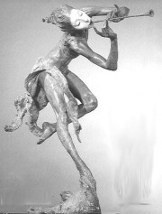"""Trumpeter - Draped"" Bronze Sculpture by Richard MacDonald"