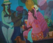 """Picnic '79"" Original Acrylic/Canvas by Gustav Likan"