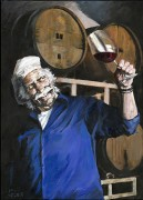 """A Great Pinot"" Giclee/Canvas by Aldo Luongo"