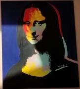 """Mona Lisa - Blue"" Embellished Mixed Media Silkscreen on Canvas by Steve Kaufman"