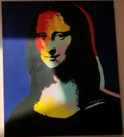 """Mona Lisa - Blue"" Embellished Mixed Media Silkscreen on Canvas by Steve Kaufman"