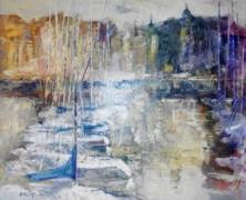 """""""Puerto de Tarde"""" Original Oil on Canvas by Aracely Alarcon"""