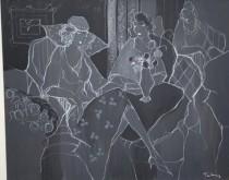 """""""Harmony in Shades of Grey"""" Original Acrylic on Canvas by Itzchak Tarkay."""