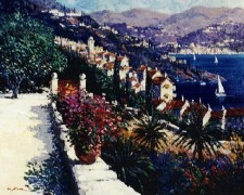 """St Tropez Overlook"" Original Acrylic/Canvas by Kerry Hallam"