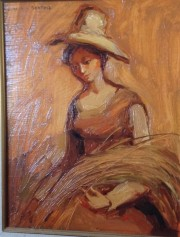 """Girl with Wheat"" Original Oil on Canvas by Dulce Beatriz"