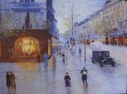"Along the Street 1930"" original Oil on Canvas by  Slobodan Paunovic"