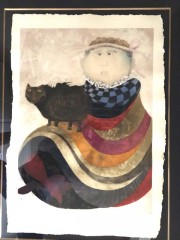 """La Infanta Y Su Gato"" Etching and Aquatint in Color Print on Paper by Graciela Rodo Boulanger"