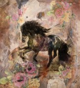 """""""Floral Horse"""" Open Edition Giclee on Canvas by Marta C Wiley"""