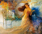"""Venise Éclatante"" Serigraph on Canvas by Francois Fressinier"