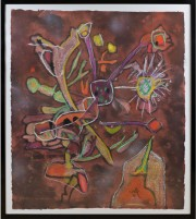 """New View"" Hand-Colored Carborundum Etching by Roberto Matta"