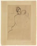"""""""Gardner Being Held By His Mother"""" Drypoint Etching by Mary Cassatt"""