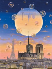 """Paris by Moonlight"" Digital Pigment Print on Canvas by Liudmila Kondakova"