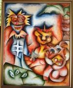 """Lion King II"" Original Acrylic on Canvas by Alexandra Nechita"