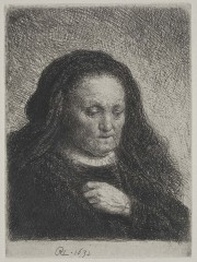 """The Artist's Mother with her Hand on her Chest"": Small Bust Etching by Rembrandt"