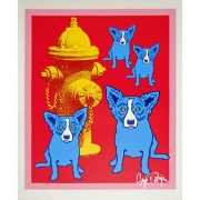 Dog On Cherry Jello With Fireplug Serigraph by Blue Dog Artist George Rodrigue