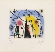 """Le Magdaleniens"" 1958 etching and aquatint in color by Joan Miro"