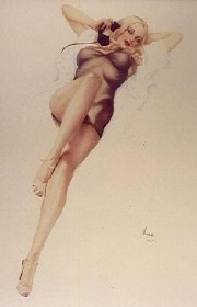 """First Love"" Deluxe Lithograph on Odalisque by Alberto Vargas"