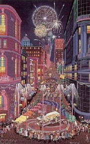 """Return of the Cable Cars"" Serigraph by Melanie Taylor Kent"