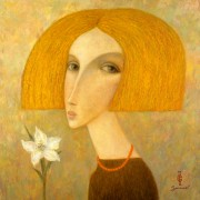 """Girl and Flower"" Giclee/Canvas by Sergey Smirnov overpainted and signed by Artist's Widow"
