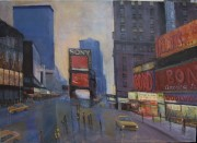 Time Square NYC 80's Original Acrylic painting on Canvas by Slobodan Paunovic