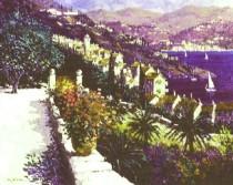 """St Tropez Overlook"" Original Acrylic/Canvas by Kerry Hallam"