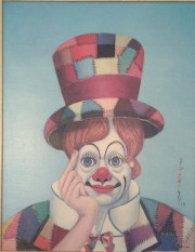 """Crazy Quilt Clown"" Serigraph on Canvas by Red Skelton"